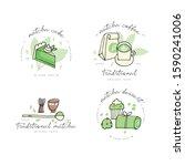 matcha tea linear design... | Shutterstock .eps vector #1590241006