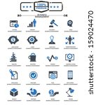 business management icons blue... | Shutterstock .eps vector #159024470