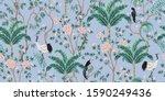 vintage garden tree  banana... | Shutterstock .eps vector #1590249436