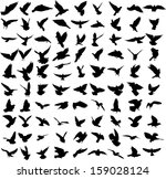 set of 91 silhouettes of birds | Shutterstock .eps vector #159028124