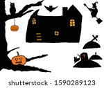 Halloween House Silhouettes Of...