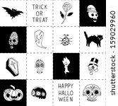 halloween black and white... | Shutterstock .eps vector #159029960