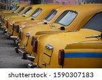 Yellow Taxis Closeup Back Side...