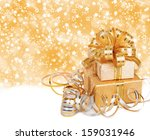 gift box in gold wrapping paper ... | Shutterstock . vector #159031946
