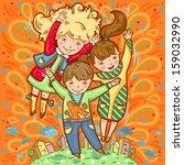 happy three children on... | Shutterstock .eps vector #159032990