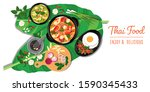 traditional thai food  thai... | Shutterstock .eps vector #1590345433