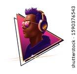 new retro wave style portrait...   Shutterstock . vector #1590376543