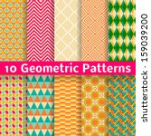 Stock vector  geometric patterns tiling set of vector seamless abstract vintage backgrounds retro orange 159039200