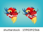 red angry dragon head. oriental ...   Shutterstock .eps vector #1590392566