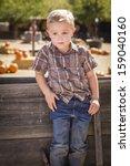 Adorable Little Boy At Pumpkin...