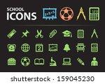 school silhouette icons.   Shutterstock .eps vector #159045230