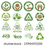 ecology icons. symbols of... | Shutterstock .eps vector #1590455200