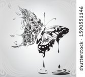 butterfly in a floral ornament   Shutterstock .eps vector #1590551146