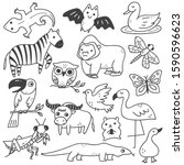 set of animals doodle isolated... | Shutterstock .eps vector #1590596623