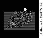 surfing skeleton lines graphic...   Shutterstock .eps vector #1590597196