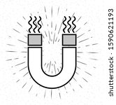black magnet icon isolated on... | Shutterstock .eps vector #1590621193