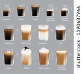 coffee types set  vector... | Shutterstock .eps vector #1590637966