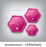 vector pink plastic hexagons... | Shutterstock .eps vector #159065660