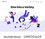 people swimming on the ocean of ... | Shutterstock .eps vector #1590701629