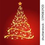 golden fir on a red background  ... | Shutterstock .eps vector #159081920