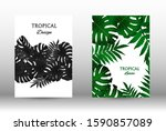 tropic covers set. colorful... | Shutterstock .eps vector #1590857089