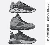 set of sneakers design vectors  ... | Shutterstock .eps vector #1590858130