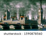Small photo of Fictional Portrayal of Westminster Houses of Parliament London Burning