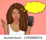 african american woman holds... | Shutterstock .eps vector #1590888076