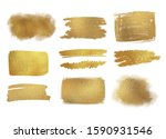 collection of golden paint... | Shutterstock . vector #1590931546