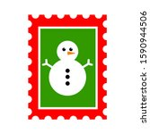 christmas post stamp with...