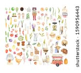 large watercolor set with... | Shutterstock . vector #1590956443