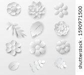 paper art flowers  set   vector ...   Shutterstock .eps vector #1590971500