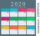 multicolored calendar for 2020... | Shutterstock .eps vector #1590999136