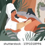 happy cute girl with towel on... | Shutterstock .eps vector #1591018996