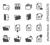 documents and folders black and ... | Shutterstock .eps vector #1591022170