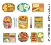 lunch boxes top view colorful... | Shutterstock .eps vector #1591022179