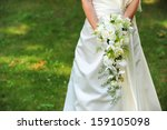 bride with a wedding bouquet of ... | Shutterstock . vector #159105098