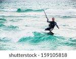 kitesurfer in black sea  crimea | Shutterstock . vector #159105818