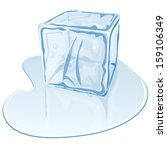 blue half melted ice cube | Shutterstock .eps vector #159106349