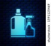 glowing neon plastic bottles... | Shutterstock . vector #1591125469
