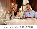 beautiful young couple with... | Shutterstock . vector #159112934