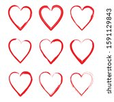 a collection of love hearts... | Shutterstock .eps vector #1591129843