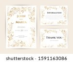 wedding invitation with gold... | Shutterstock .eps vector #1591163086