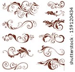 Vector swirl ornate motifs. Elements can be ungrouped for easy editing.  - stock vector