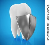 tooth with metal shield on blue ... | Shutterstock . vector #159120926