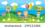 a illustration of a boy and a... | Shutterstock . vector #159121304