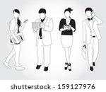 set of people using smart... | Shutterstock .eps vector #159127976