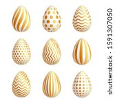 gold eggs in beautiful style.... | Shutterstock .eps vector #1591307050