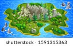 green island with mountains ... | Shutterstock .eps vector #1591315363