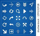 arrow sign pack on blueprint.... | Shutterstock .eps vector #159131918